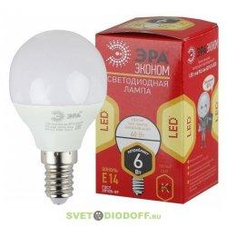 Лампа светодиодная ECO LED P45-6W-827-E14 ЭРА (диод, шар, 6Вт, тепл, E14)