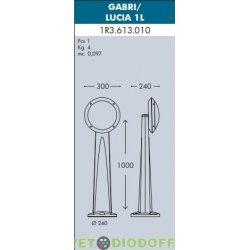 Уличный фонарь столб Fumagalli Gabri/Lucia 1L 1.0м серый, опал (акция)