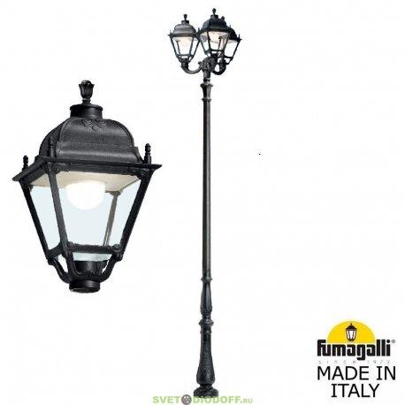 Уличный столб фонарь HOREB OFIR/SIMON 3L чёрный, прозр., 3xE27 LED-HIP с лампами 5000Lm, 4000К, 4,1м.п.
