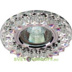 Светильник под светодиодную лампу и с торцевой светодиодной подсветкой, хром зеркальный + кристаллы М5 и прозрачные 3000К
