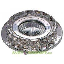 Светильник под светодиодную лампу и с торцевой светодиодной подсветкой, хром зеркальный прозрачный + кристаллы 3000К