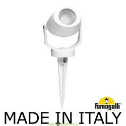 Светильник светодиодный фасадный, грунтовый Fumagalli MINI TOMMY SPIKE белый, полупрозрачный, 1XGU10 LED с лампой 3,5W
