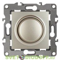 Светорегулятор (диммер) поворотно-нажимной, 400ВА 230В, Эра12, шампань 12-4101-04 ЭРА