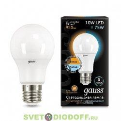 Лампа светодиодная диммируемая от Теплого в холодный Gauss LED A60 10W E27 2700K/4100K CTC