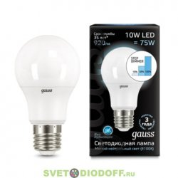 Лампа светодиодная Gauss LED A60 10W E27 2700K step dimmable (пошаговое диммирование)