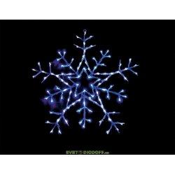 """Световая фигура """"снежинка"""" 24V 100 LED белый+синий, 4.8W, 200mA, с контроллером и 24V-адаптером, IP 20, шнур 5м х0,12мм"""