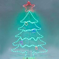 "Световая фигура ""елка"" 230V, дюралайт 10 м 24 LED/м (мультиколор), строб эффект, шнур 1,6м IP44, 136*87 см"