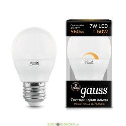Диммируемая светодиодная лампа Gauss LED Globe-dim E27 7W 3000К