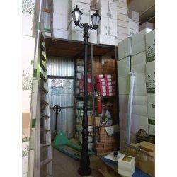 Столб фонарный уличный Fumagalli TABOR BISSO/RUT 2L черный, прозр., 2xE27 LED-FIL с лампами 800Lm, 2700К 3,40м